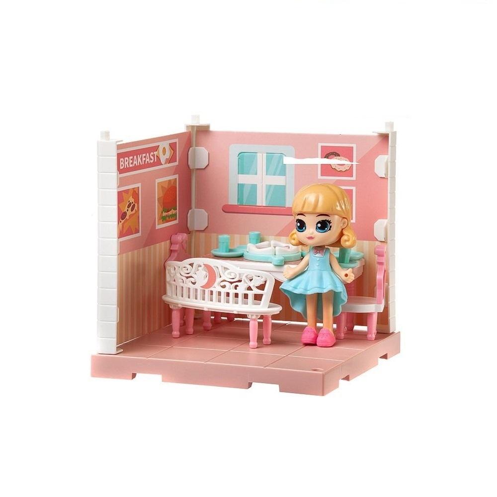 Купить Игровой набор Junfa (Собери сам), 1 секция, Мини-кукла в столовой, с аксессуарами WJ-14334, Junfa toys,