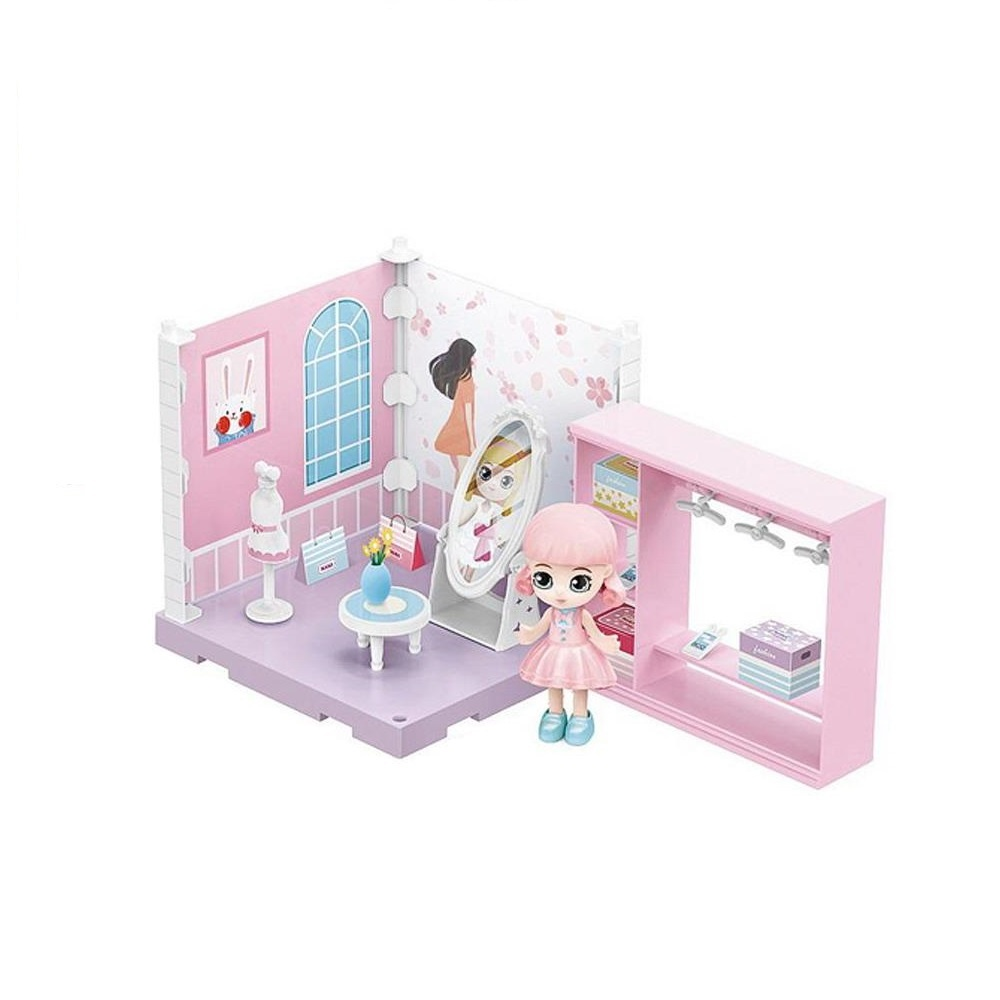 Купить (Собери сам), 1 секция, Мини-кукла в гардеробной комнате, с аксессуарами, Игровой набор Junfa Собери сам, Мини-кукла в гардеробной с аксессуарами WJ-14333, Junfa toys,
