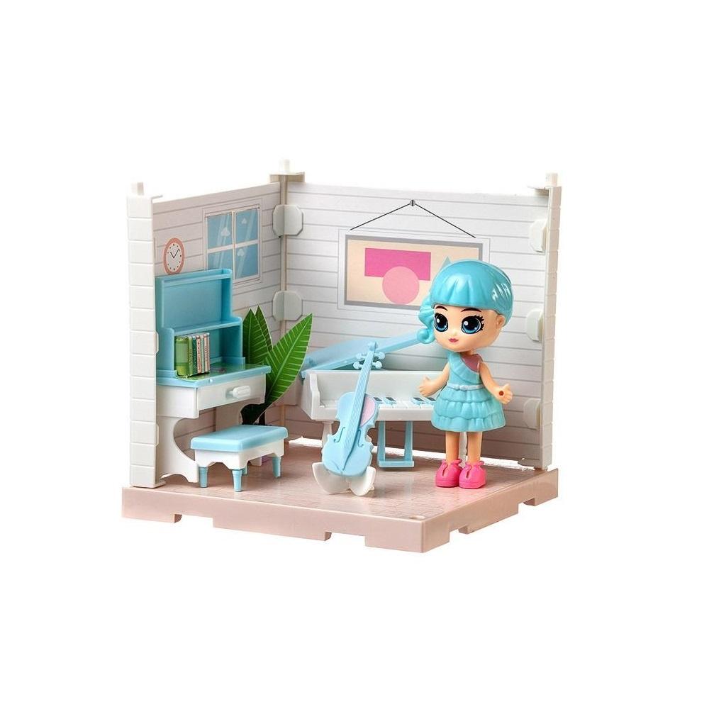 Купить (Собери сам), 1 секция, Мини-кукла в музыкальной комнате, с аксессуарами, Игровой набор Junfa Собери сам Мини-кукла в музыкальной комнате, с аксессуарами WJ-14331, Junfa toys,