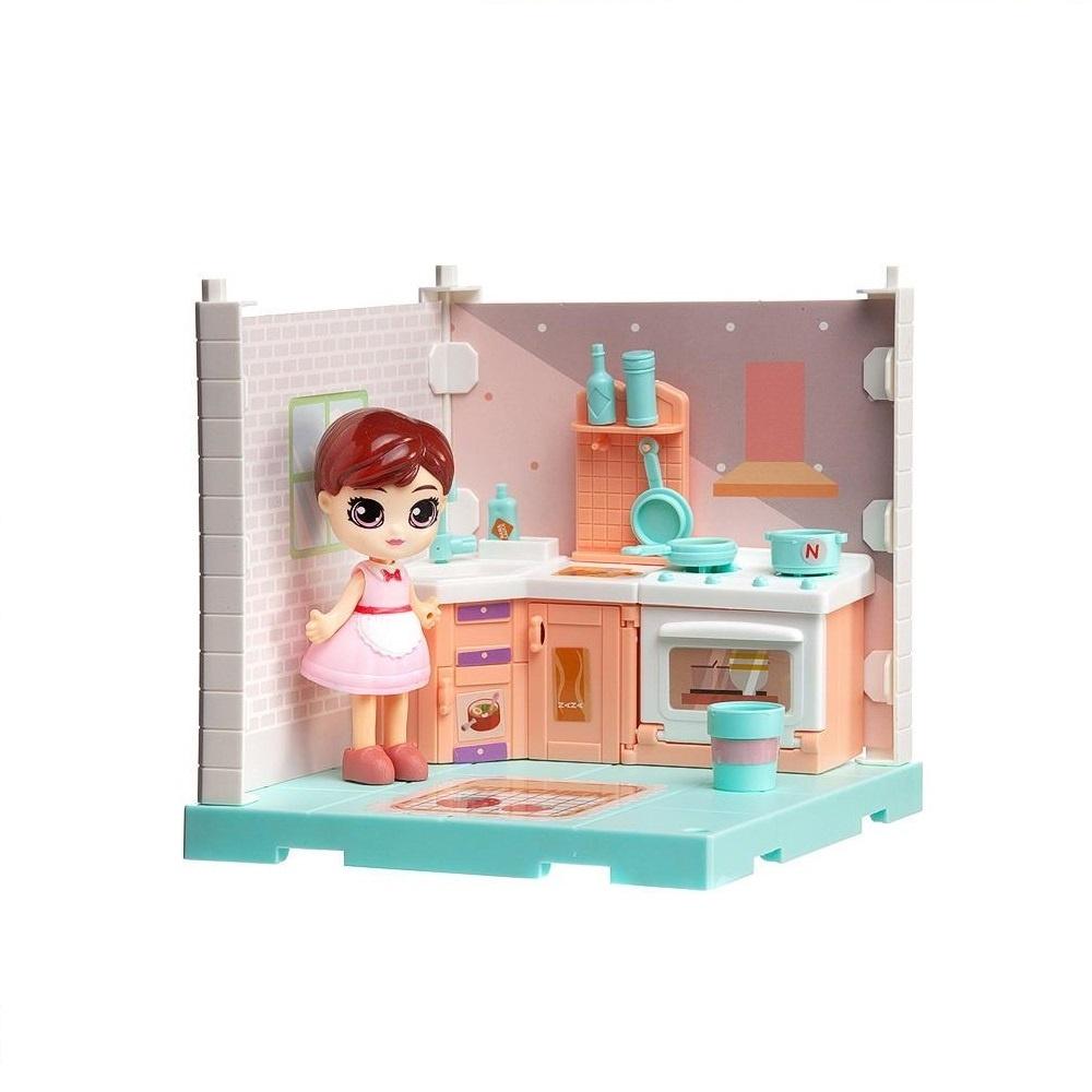 Купить Игровой набор Junfa (Собери сам), 1 секция, Мини-кукла на кухне, аксессуарами WJ-14330, Junfa toys,