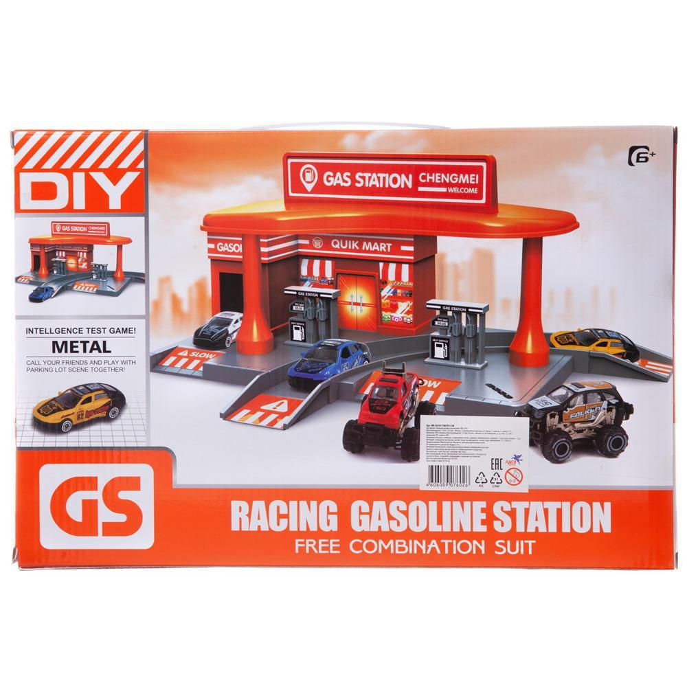 Купить Заправочная станция , с двумя металлическими машинками, в коробке, Набор игровой Junfa Заправочная станция с двумя металлическими машинками, CM559-52B, Junfa toys,
