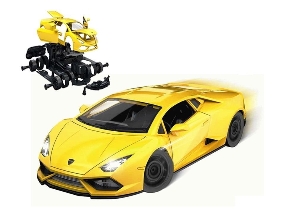 Купить Собери сам, Гоночная машина , 58 деталей, желтый, звук, свет, Игровой набор Junfa Собери сам, Гоночная машина, свет 1901, Junfa toys,