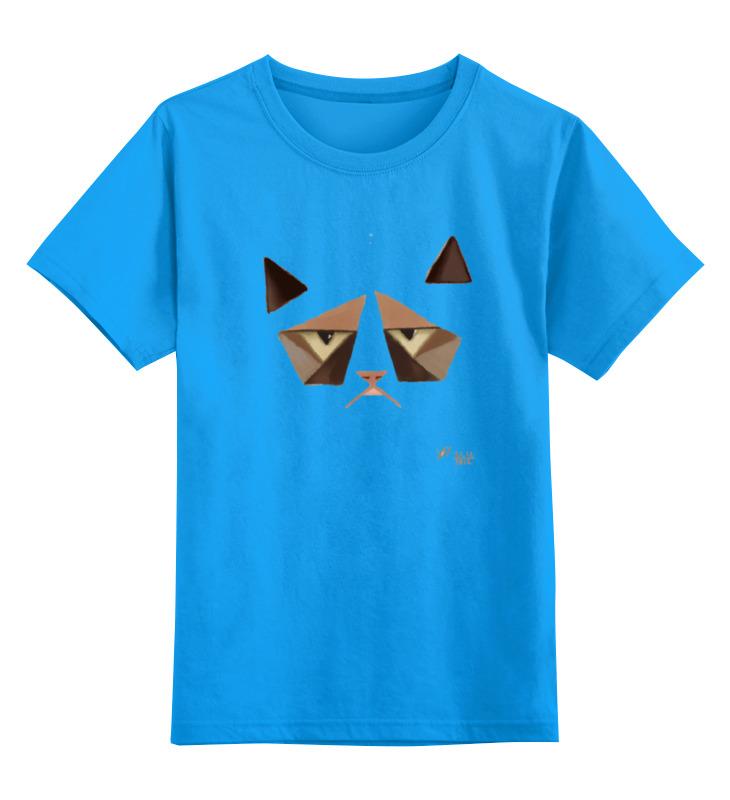 Купить 0000000737674, Детская футболка Printio Сердитый котик / grumpy cat art nouveau цв.голубой р.152,