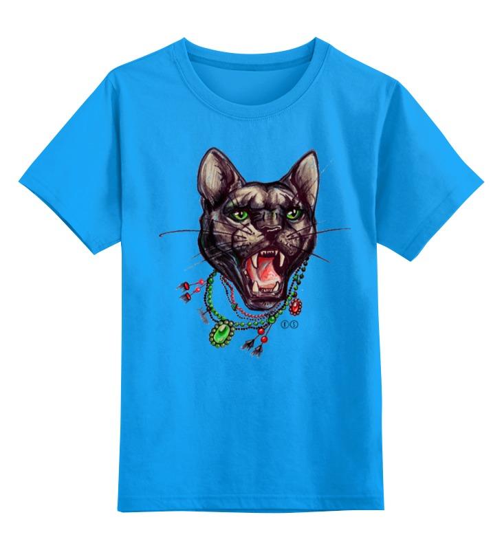Купить 0000000732601, Детская футболка Printio Пантера цв.голубой р.152,