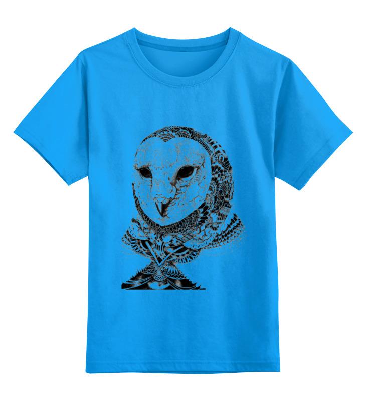 Купить 0000000740363, Детская футболка Printio Сова-2 цв.голубой р.164,