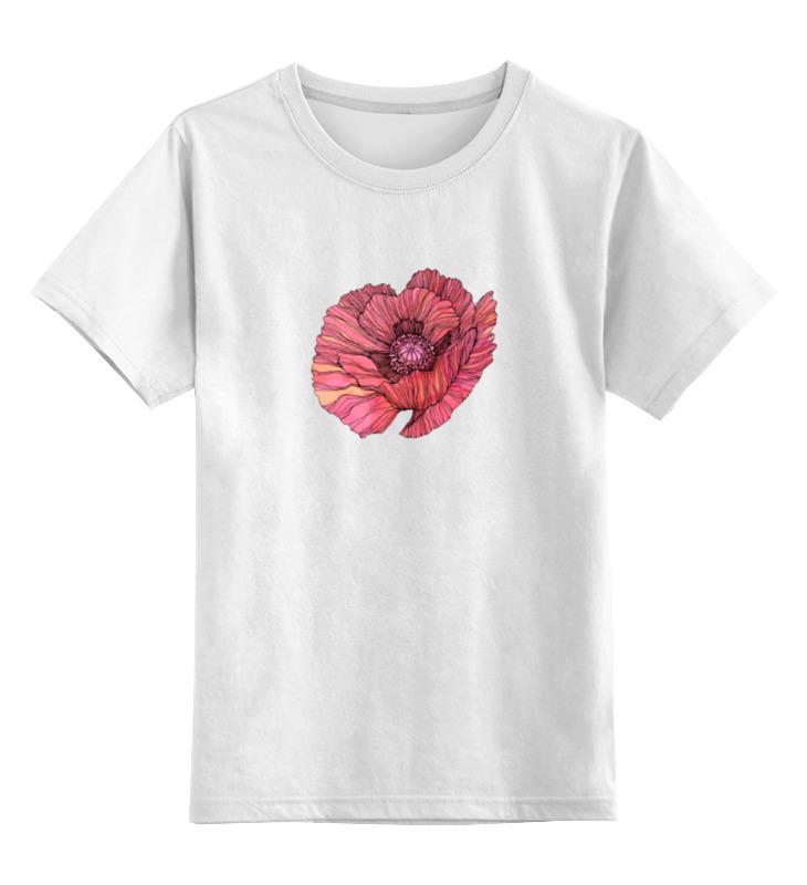 Купить 0000000739570, Детская футболка Printio Стилизованный винтажный арт-цветок цв.белый р.164,