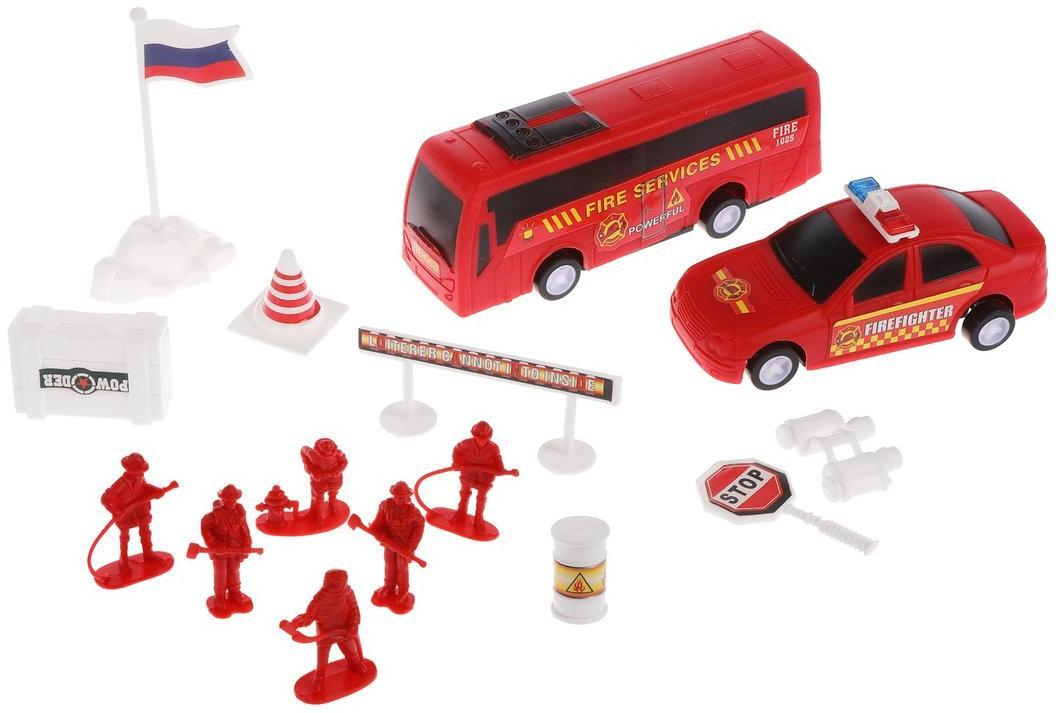 Купить Игровой набор Наша Игрушка Пожарные, техника 2 шт, фигурки 6 шт, аксессуары 7 шт 02F, Наша игрушка,