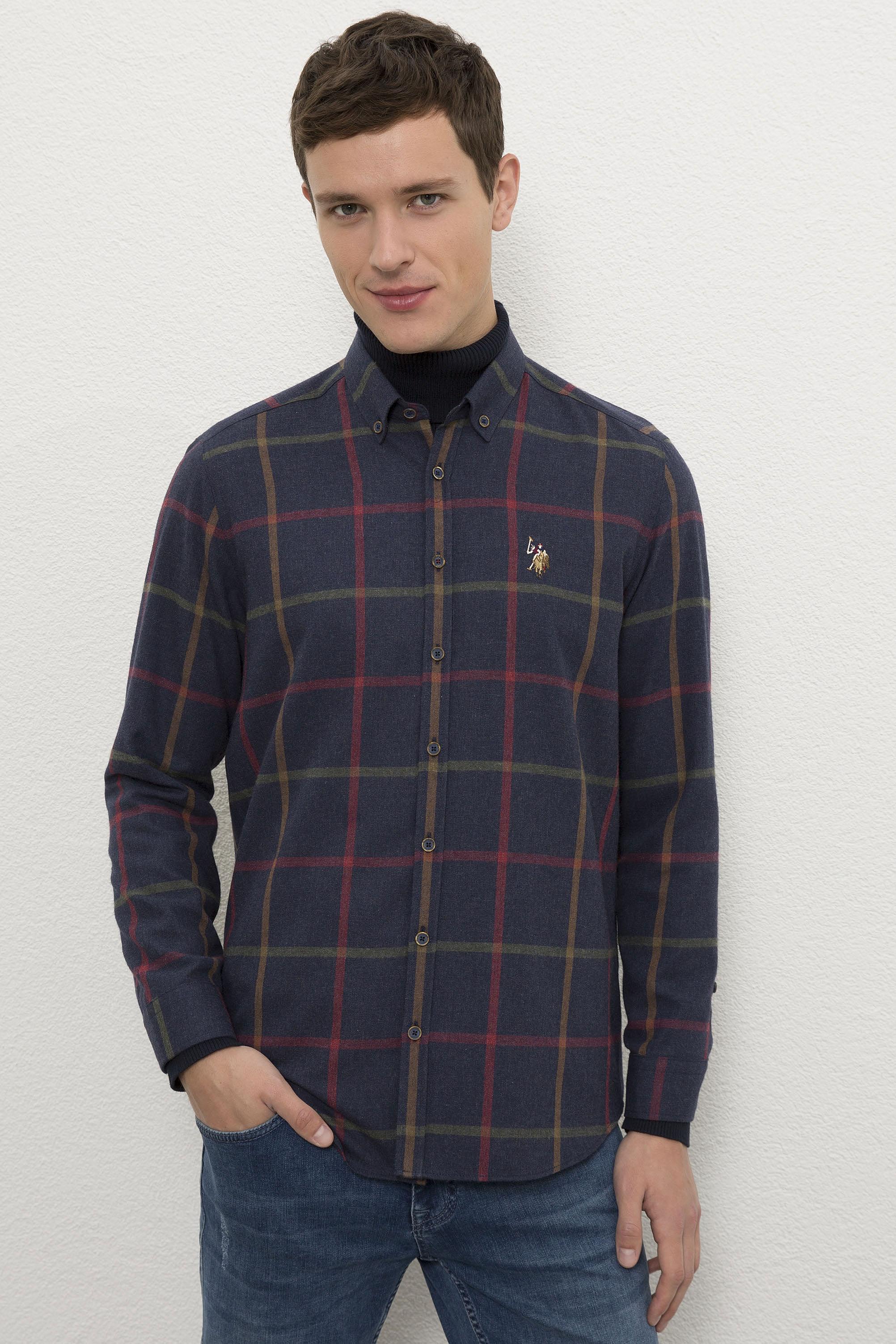 Рубашка мужская U.S. POLO Assn. G081SZ0040TERU синяя 2XL