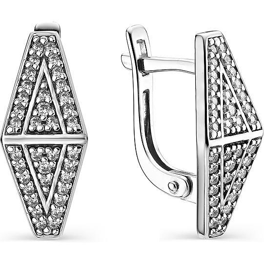 Серьги женские из серебра АЛЬКОР 02-0835, фианит