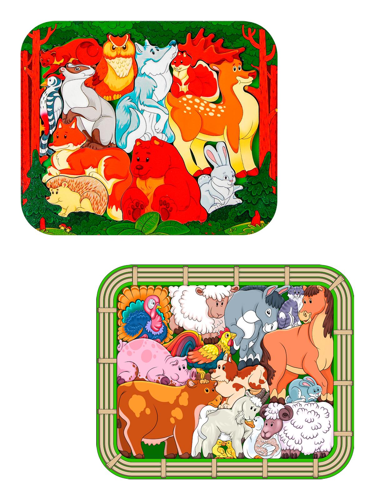 Купить Детские развивающие пазлы Нескучные Игры Зоопазл Лесные жители+ Зоопазл Переполох на ферме,