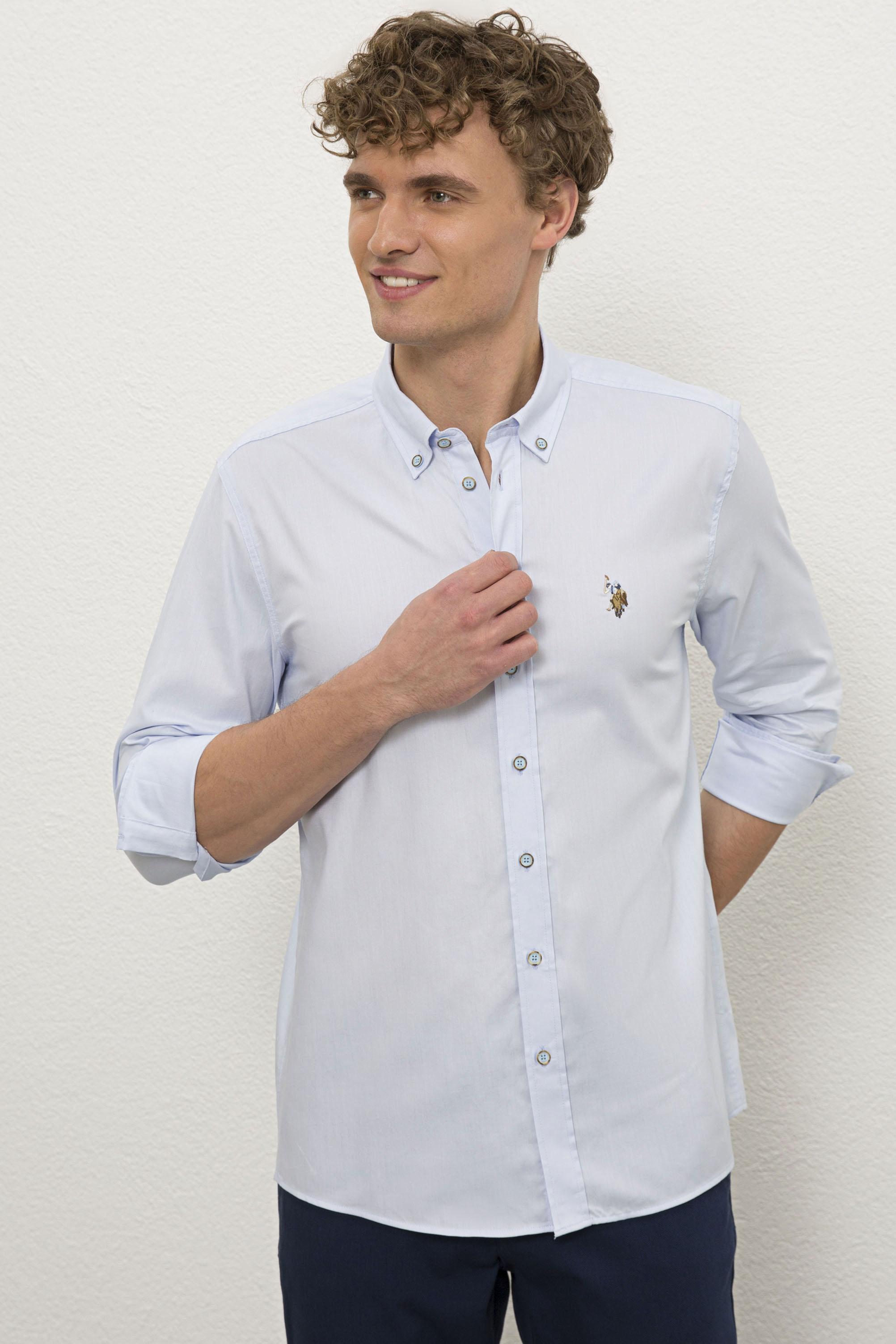Рубашка мужская U.S. POLO Assn. G081SZ0040CEDCOLORREG020Y голубая XL