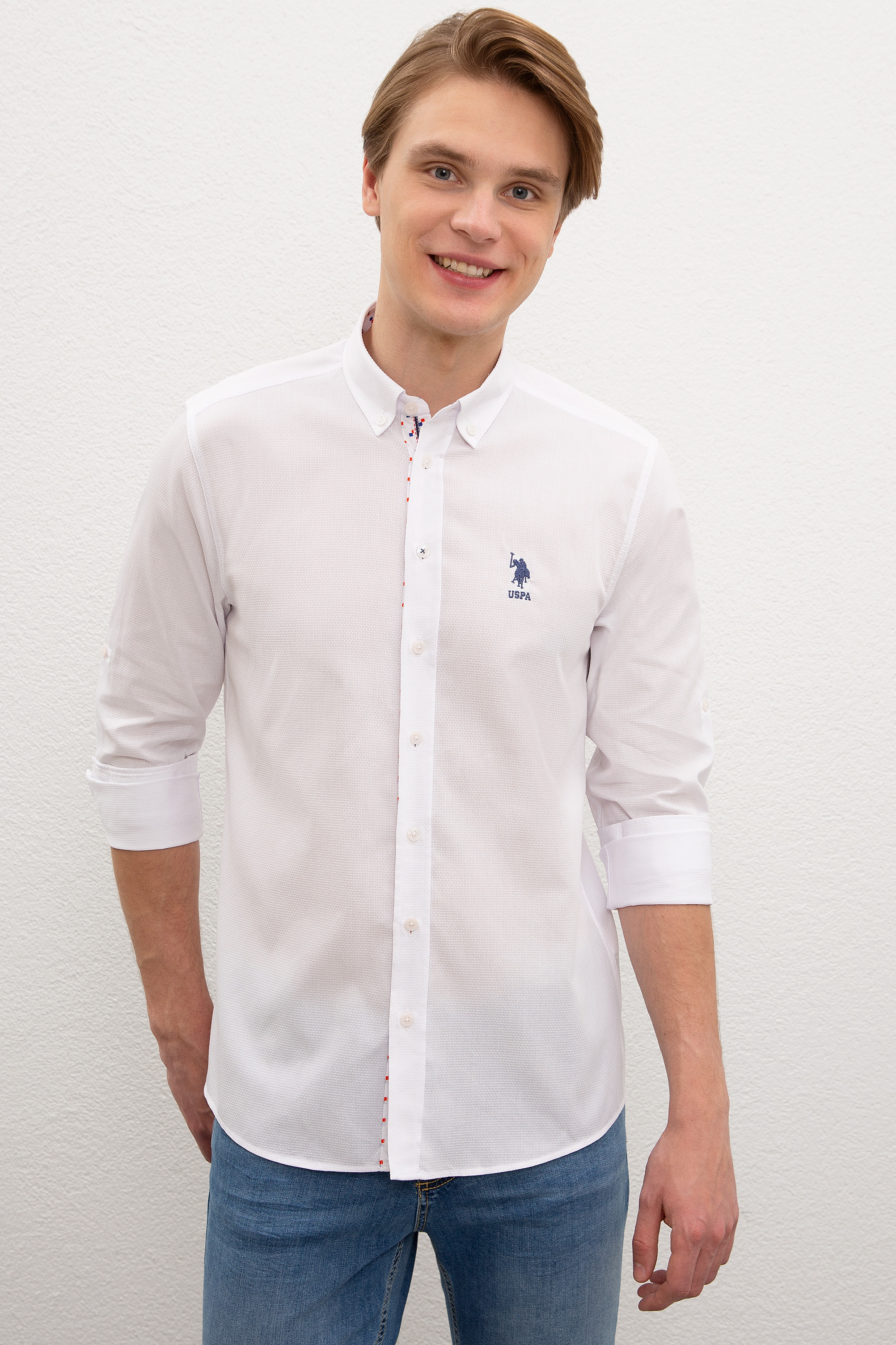 Рубашка мужская U.S. POLO Assn. G081SZ0040NOVATNA белая M