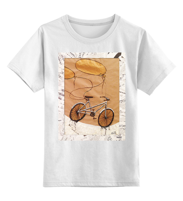Купить 0000000738146, Детская футболка Printio Bycicle&baloons цв.белый р.164,