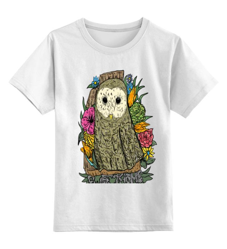 Купить 0000000736327, Детская футболка Printio Сова цв.белый р.164,