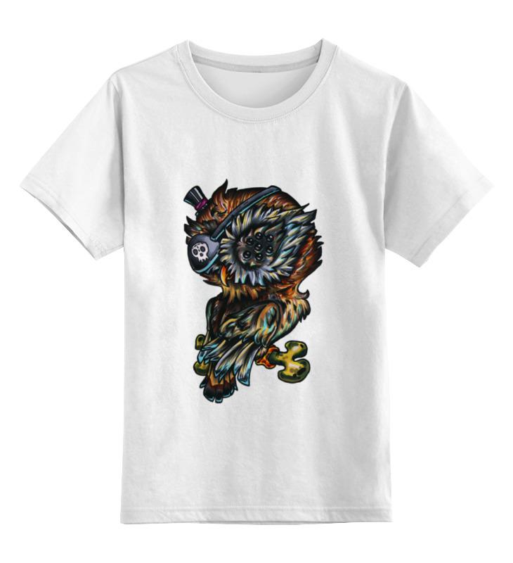 Купить 0000000734663, Детская футболка Printio Многоглазая сова пират цв.белый р.164,