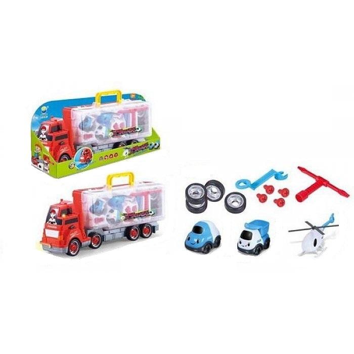 Купить Грузовик с машинками и запчастями , 48, 5*19, 5*11, 5 см, Игровой набор Junfa Грузовик с машинками и запчастями, 5 см BS809-2, Junfa toys,