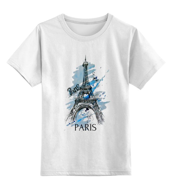0000000737449, Детская футболка Printio Эйфелева башня цв.белый р.104,  - купить со скидкой