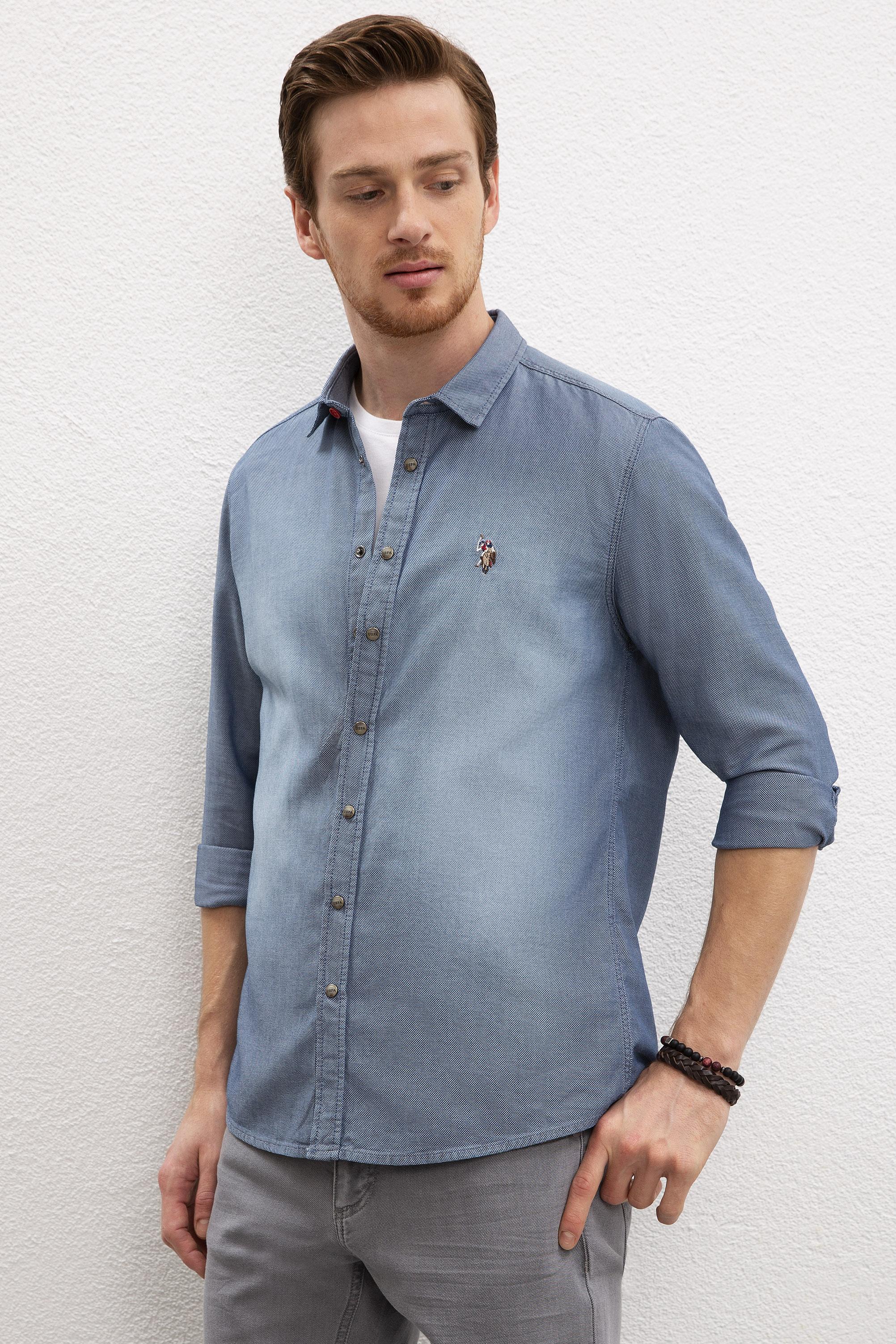 Джинсовая рубашка мужская U.S. POLO Assn. G081SZ0770COPS20Y синяя 2XL