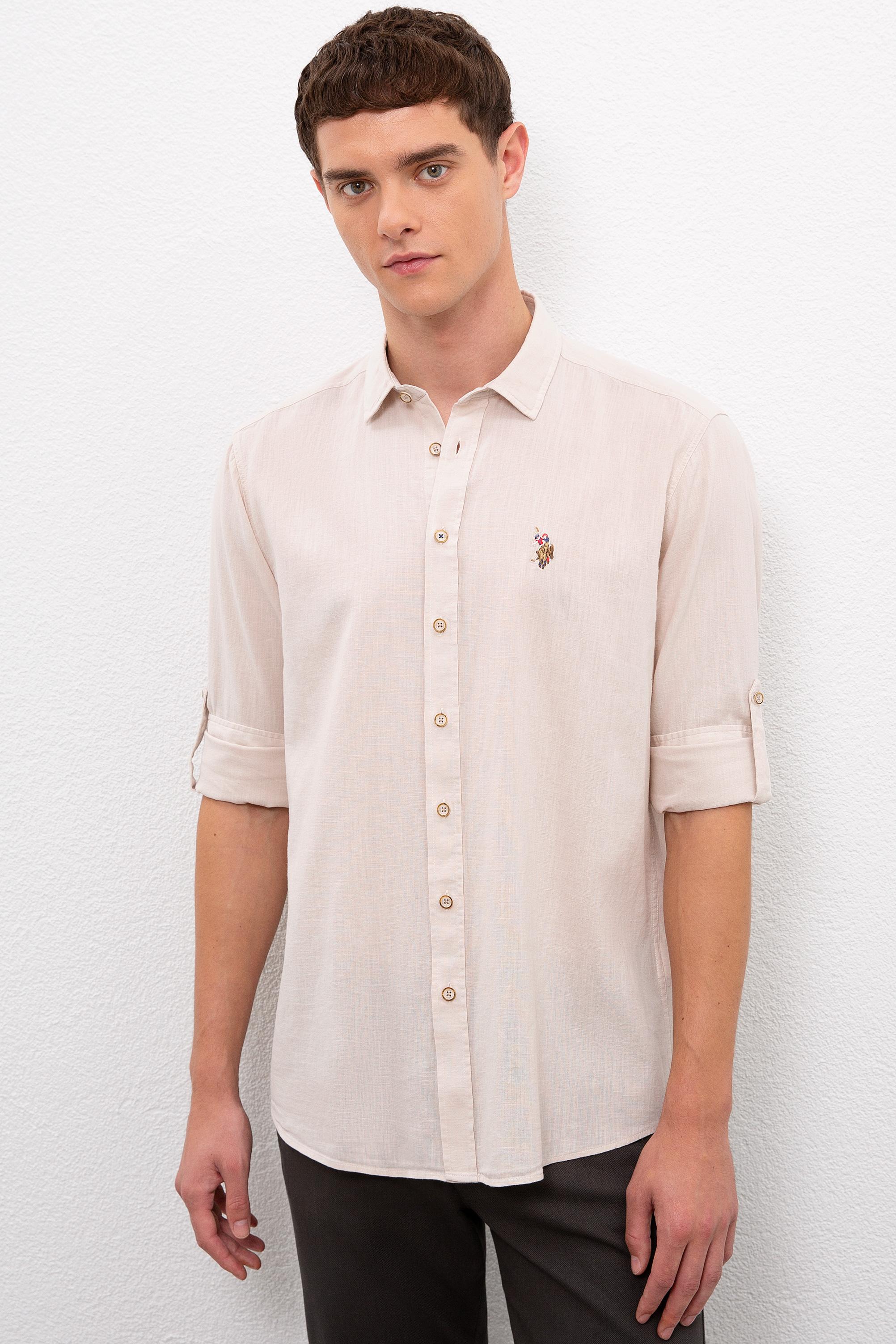 Рубашка мужская U.S. POLO Assn. G081SZ0040ENZO020Y бежевая 2XL