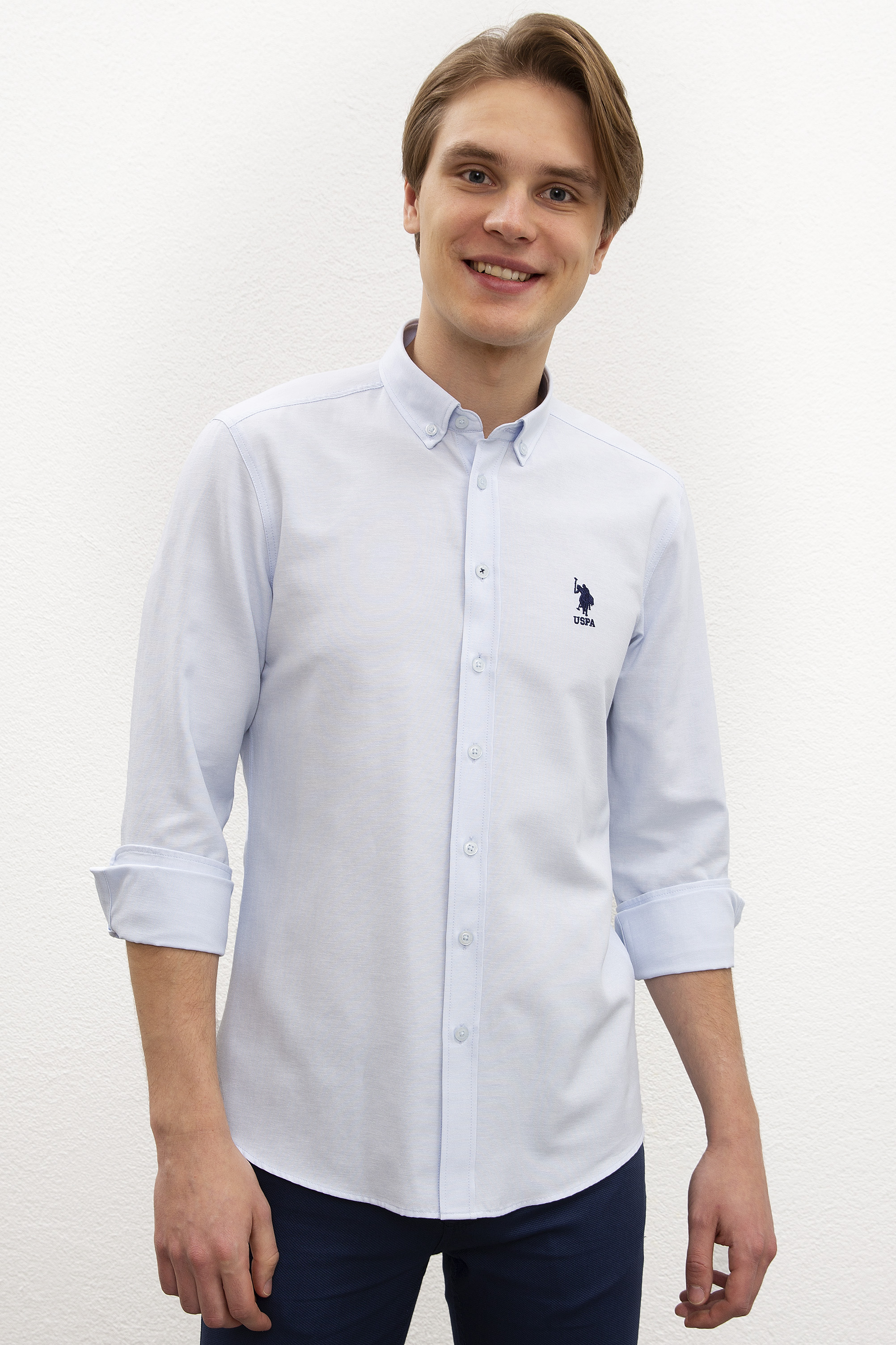Рубашка мужская U.S. POLO Assn. G081GL0040GOX020Y голубая M