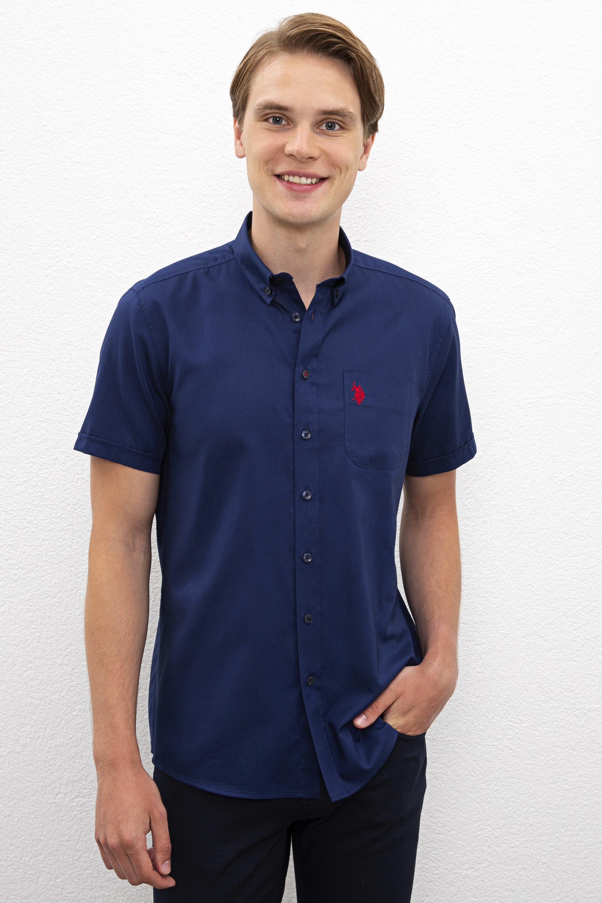 Рубашка мужская U.S. POLO Assn. G081SZ0040HAPPY020Y синяя XS