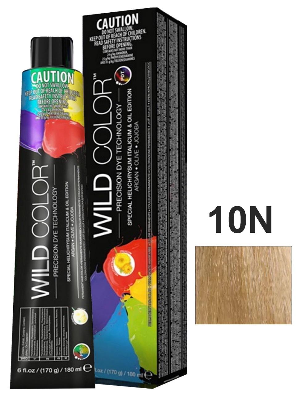 Купить Крем-краска PERMANENT COLOR для окрашивания волос WILD COLOR 10N платиновый блондин 180 мл, WildColor