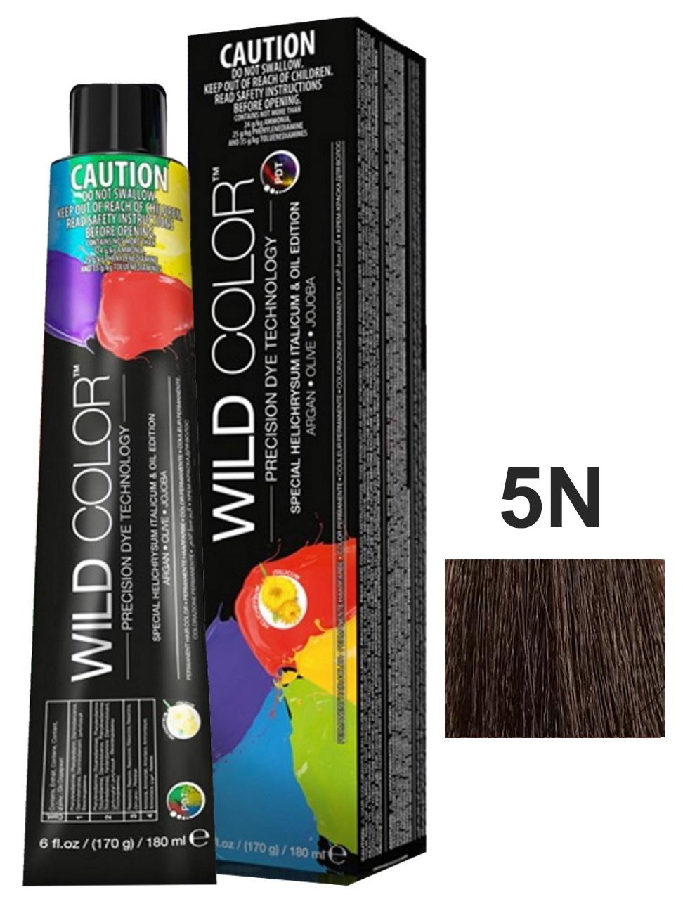 Купить Крем-краска PERMANENT COLOR для окрашивания волос WILD COLOR 5N светло-каштановый 180 мл, WildColor