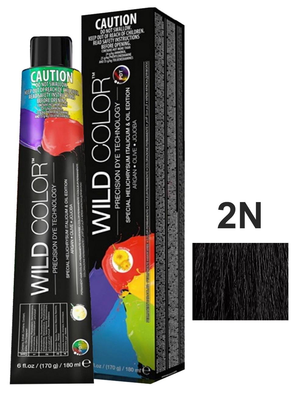 Купить Крем-краска PERMANENT COLOR для окрашивания волос WILD COLOR 2N коричневый 180 мл, WildColor