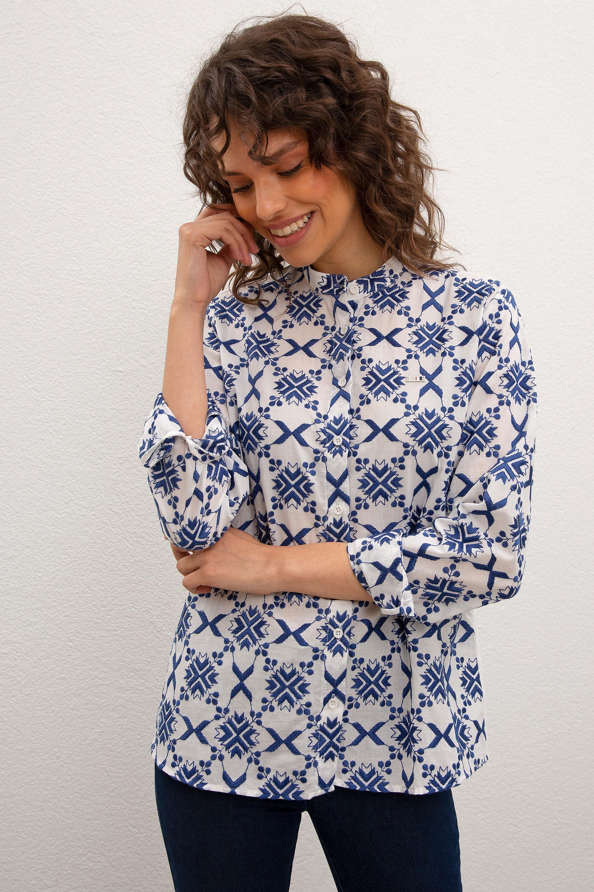 Рубашка женская U.S. POLO Assn. G082SZ0040ANEKO синяя 40