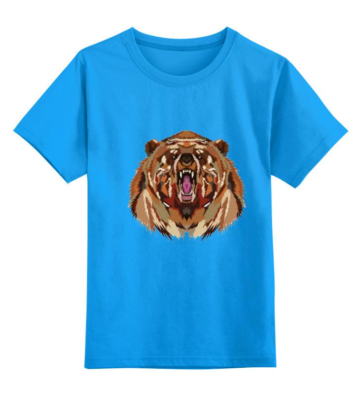 Купить 0000000735303, Детская футболка Printio Медведь цв.голубой р.116,