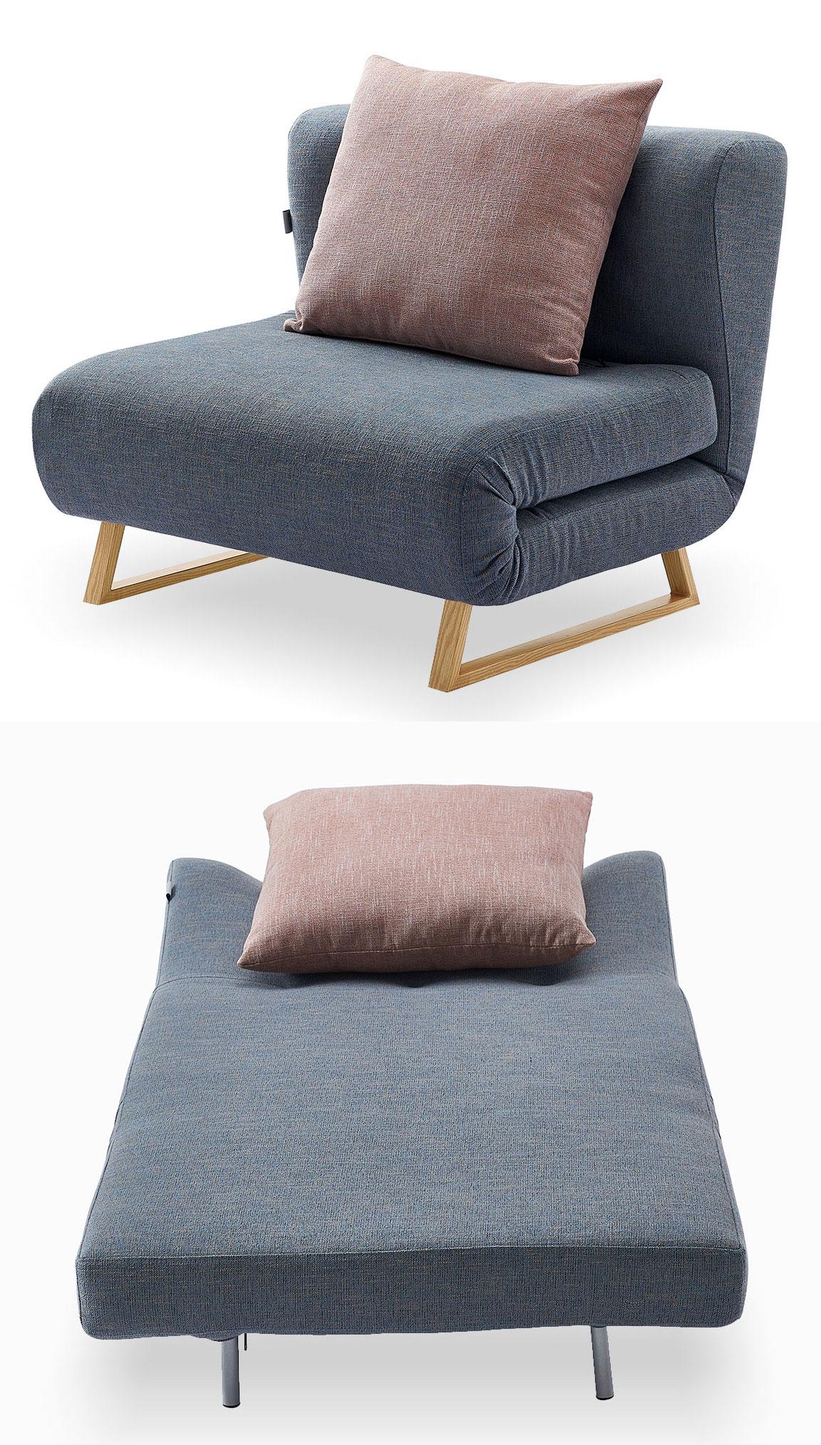 Кресло кровать Rosy, синий/коралловый