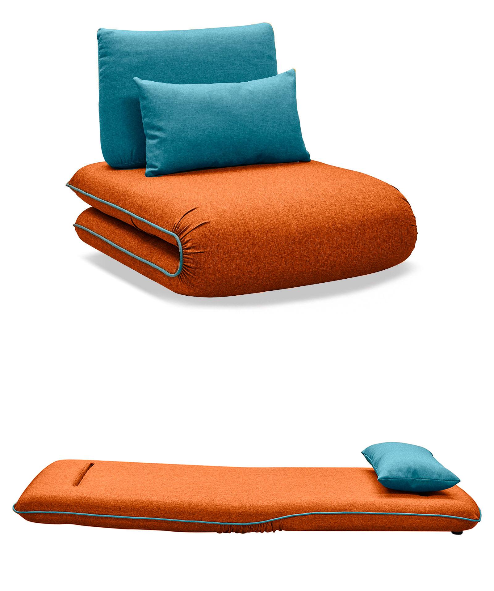 Кресло кровать Justin 1, оранжевый/бирюзовый