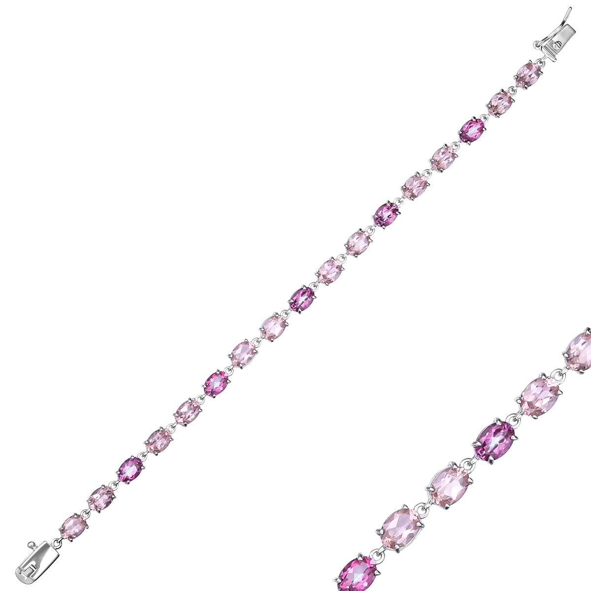 Браслет женский Balex Jewellery 7457930014 из серебра, топаз/морганит, р. 18