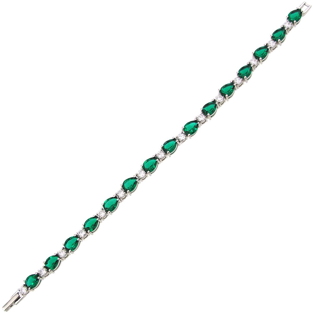 Браслет женский Balex Jewellery 7405937561 из серебра, изумруд/фианит, р. 20