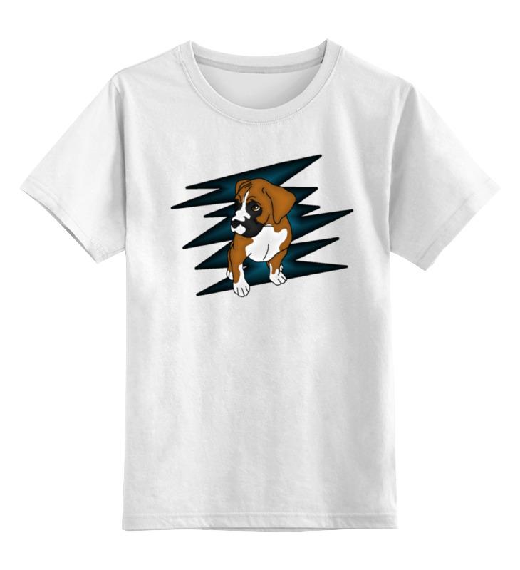 Купить 0000000738573, Детская футболка Printio Puppy boxer цв.белый р.128,