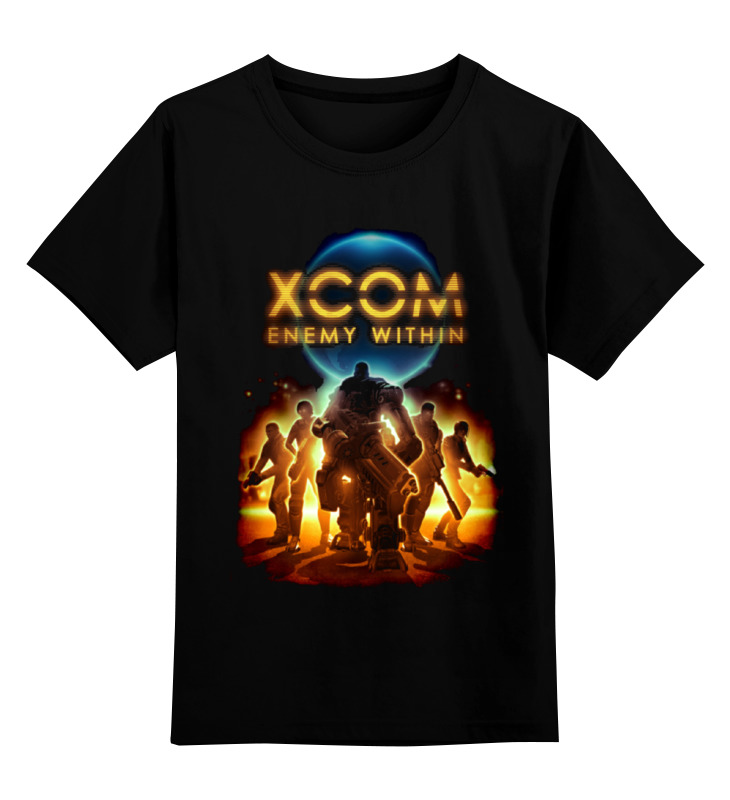 Купить 0000000735127, Детская футболка Printio X-com 2 цв.черный р.128,