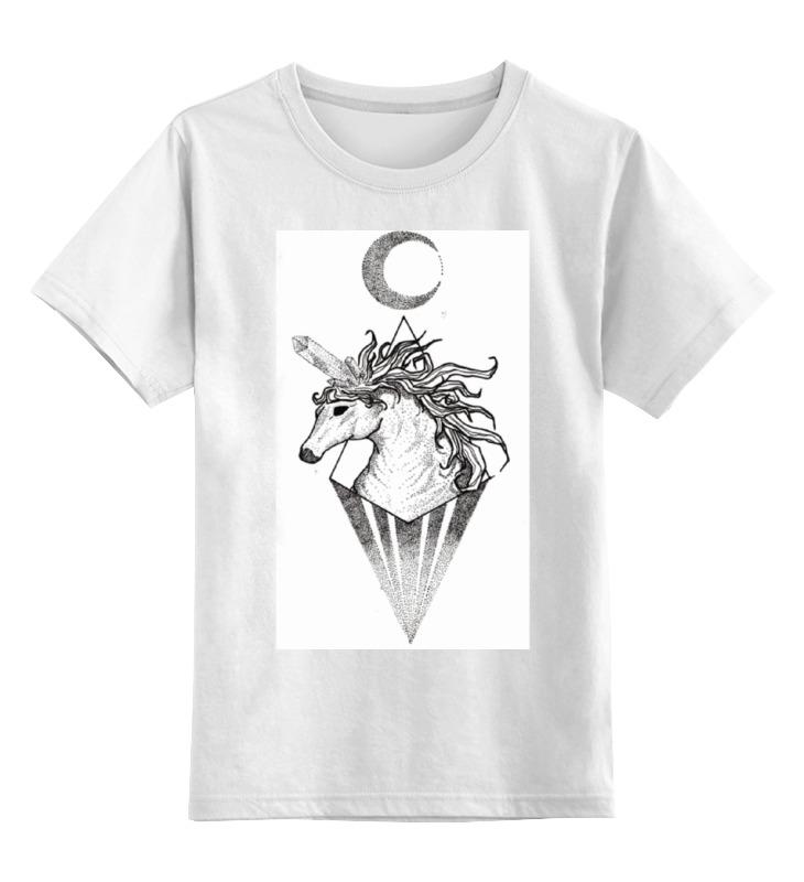 Купить 0000000731314, Детская футболка Printio Единорог unicorn цв.белый р.128,