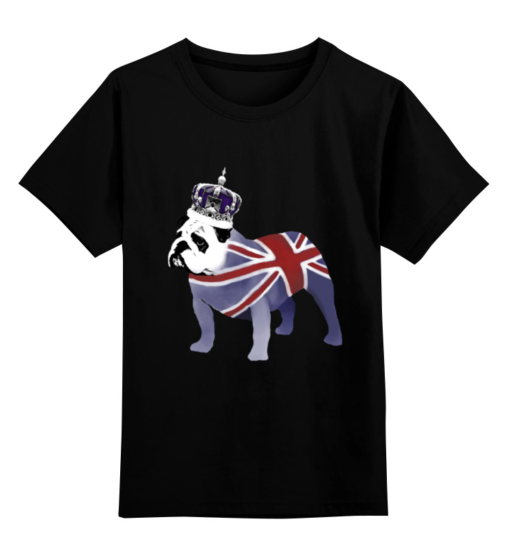 Купить 0000000747633, Детская футболка Printio English bulldog цв.черный р.140,