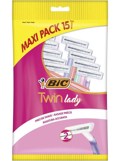 Купить Бритва женская одноразовая, 2 лезвия, BIC Twin Lady, уп. 15 шт.