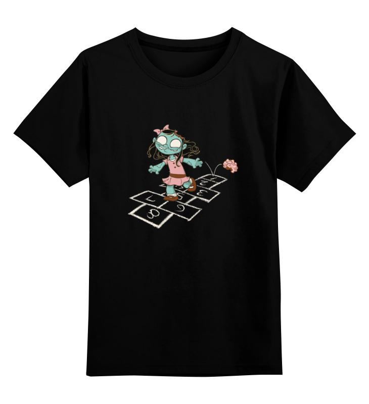 Купить 0000000737070, Детская футболка Printio Зомби девочка цв.черный р.140,