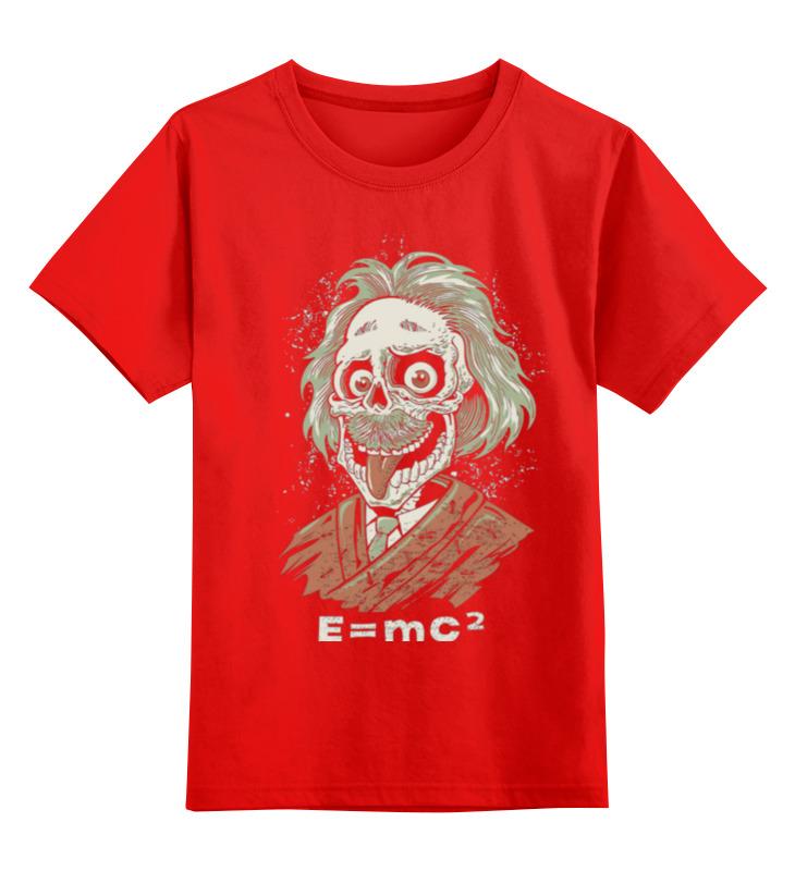 Купить 0000000736295, Детская футболка Printio Зомби эйнштейн цв.красный р.140,