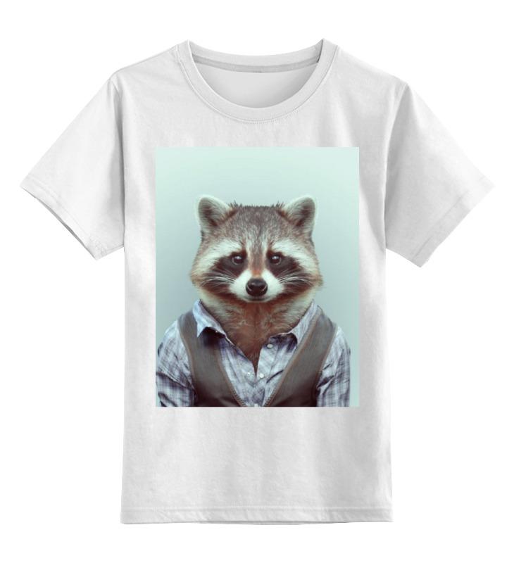Детская футболка Printio Деловой енот цв.белый р.152 0000000721068 по цене 790