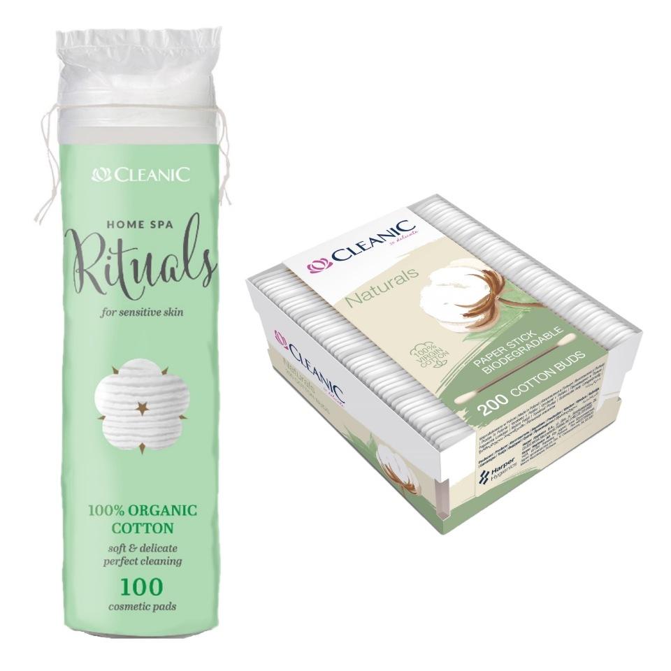 Купить Набор Ватные диски CLEANIC Organic 100шт + Ватные палочки Naturals Organic Cotton 200шт.