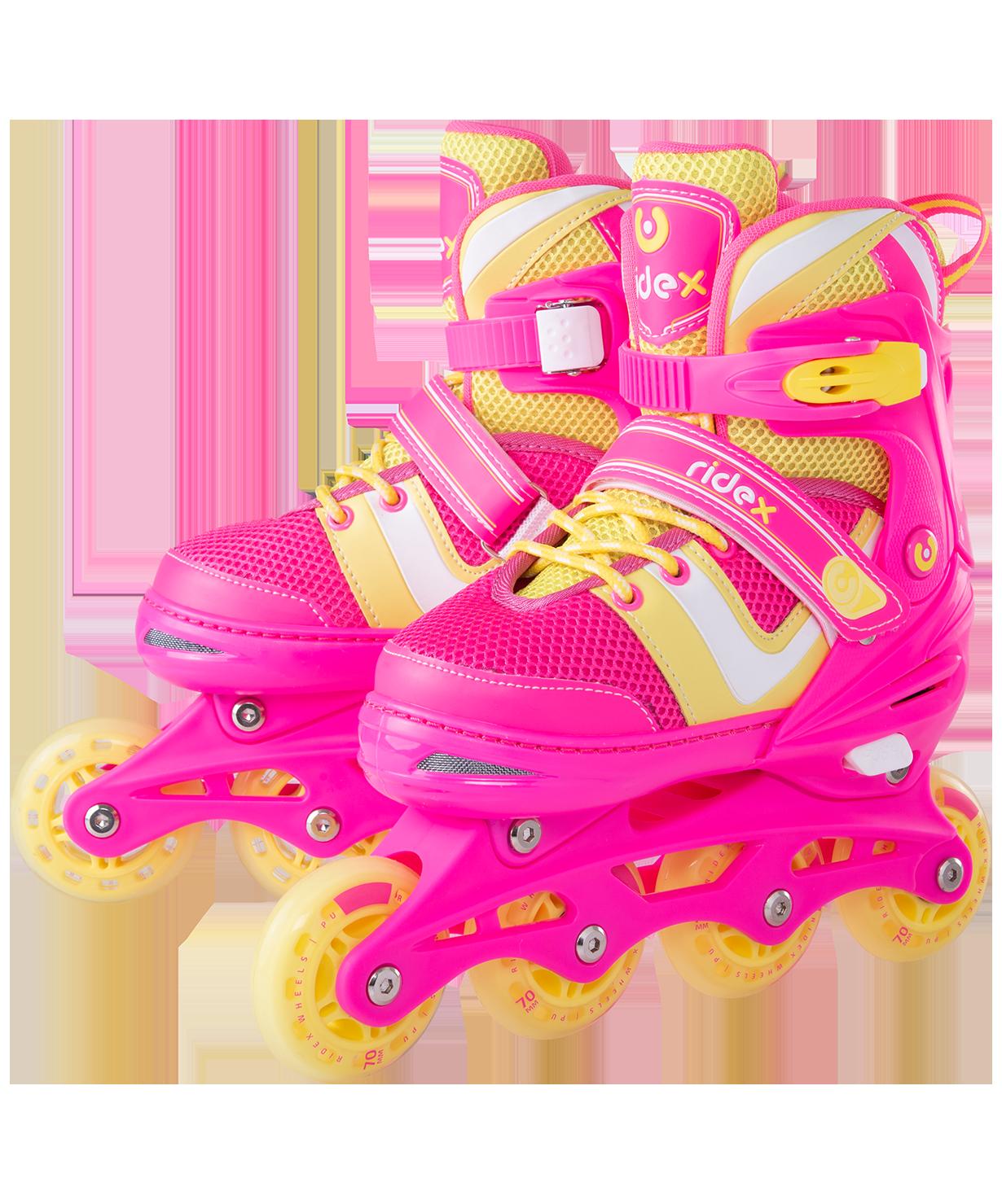 Купить Ролики раздвижные Wing Pink, пластиковая рама - M (34-37), Ролики раздвижные Ridex Wing Pink, M (34-37),