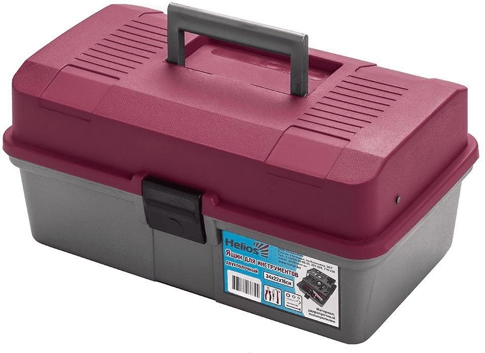 Ящик для инструментов двухполочный красный Helios