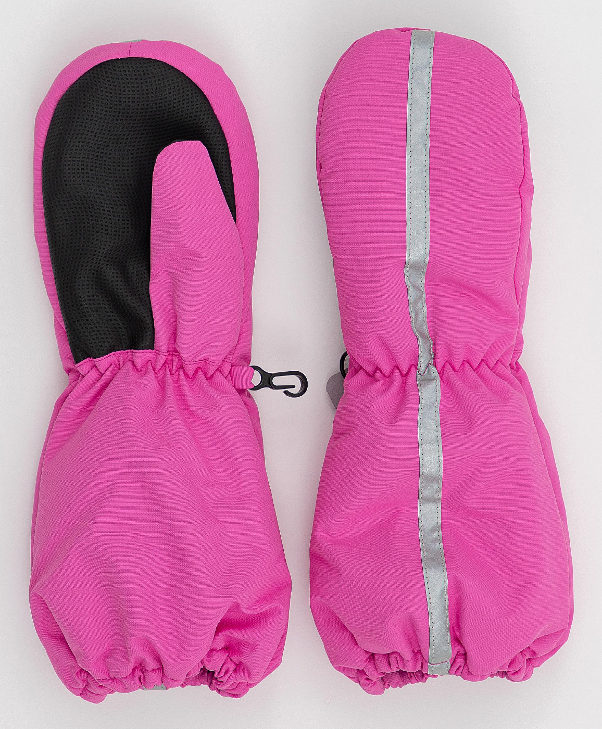 Розовые плащевые варежки Button Blue 220BBGMA76011200, размер 12