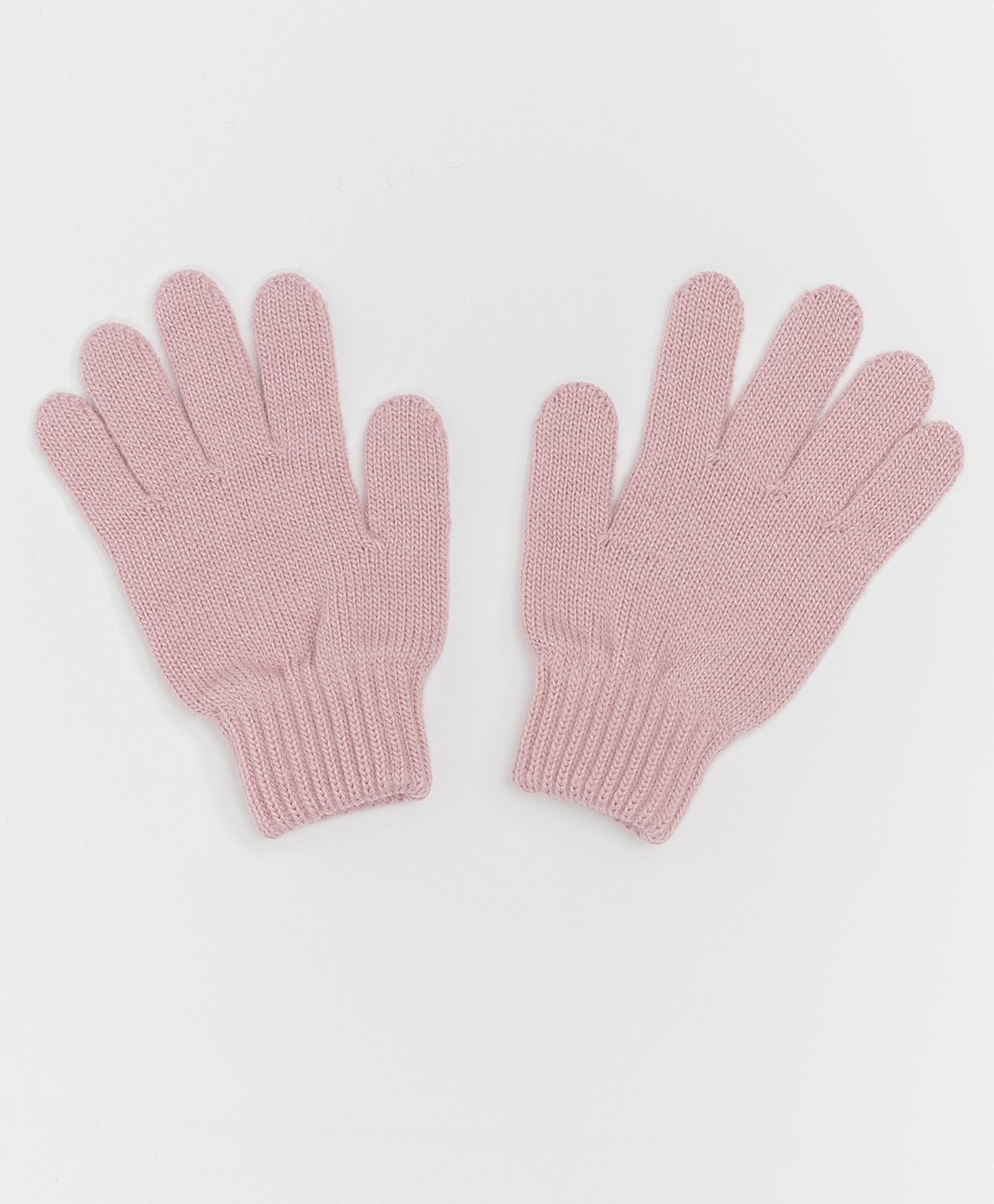 Розовые вязаные перчатки Button Blue 220BBGJX76011200, размер 16