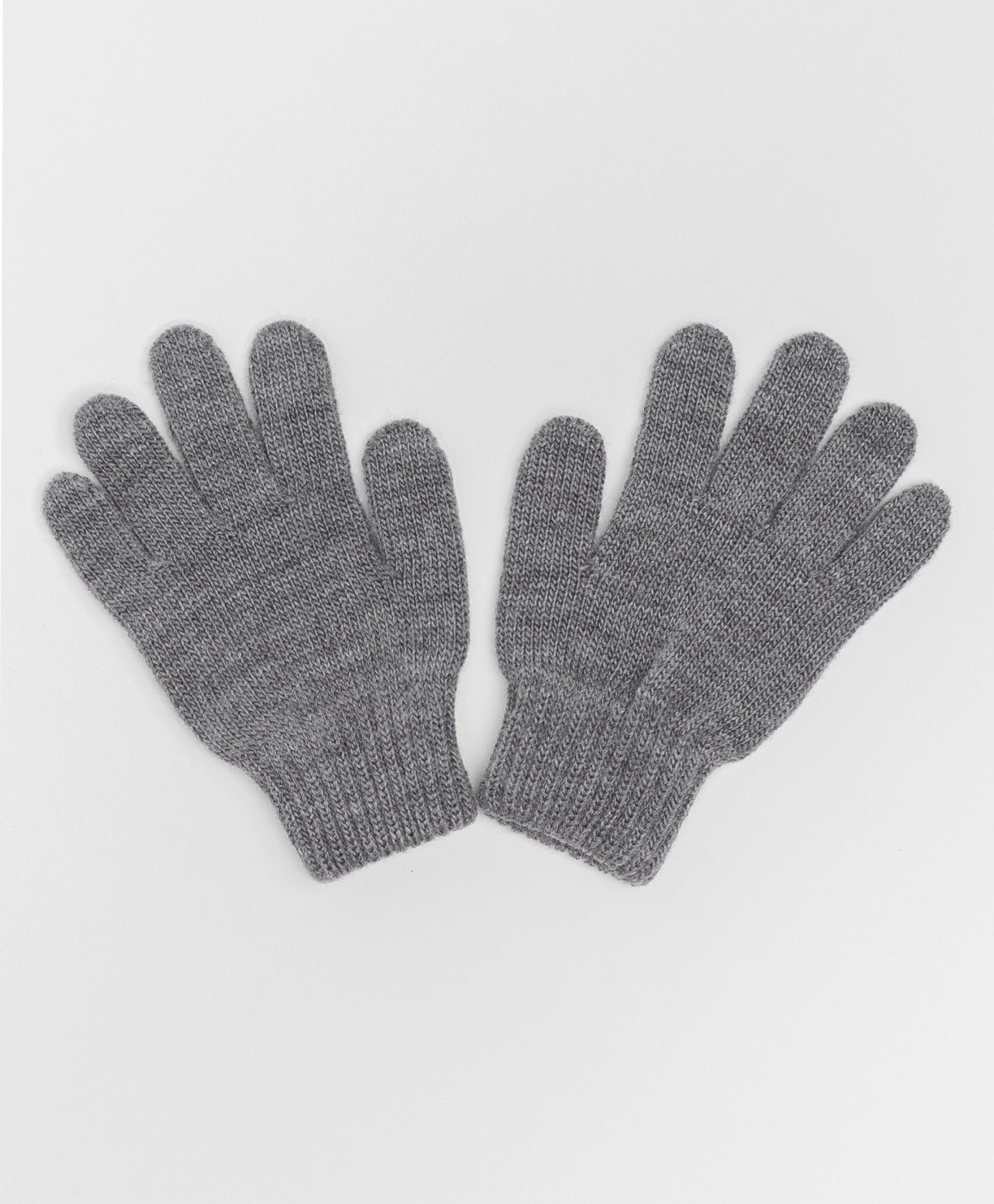 Купить Серые вязаные перчатки Button Blue 220BBBJX76021900, размер 18,