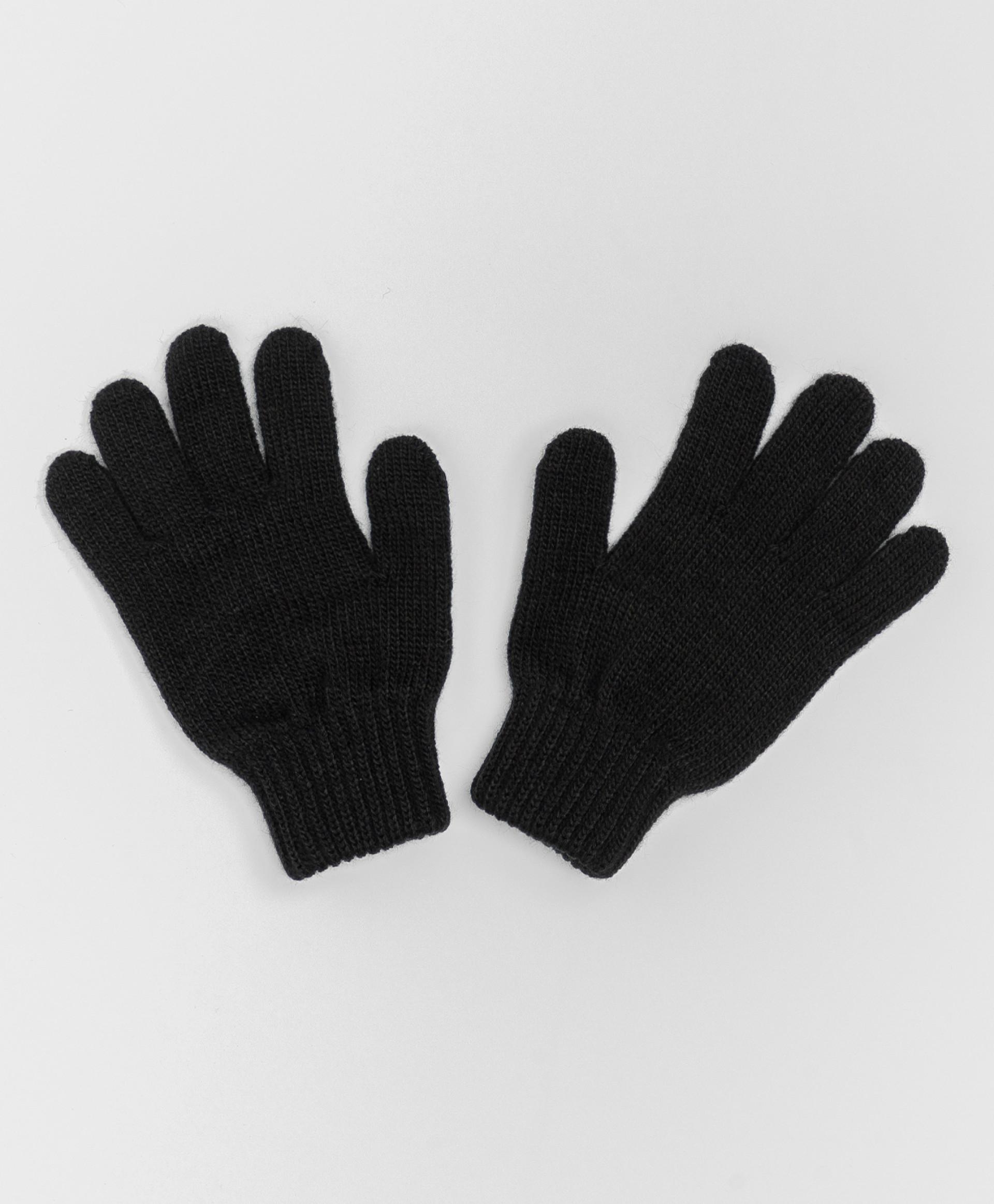 Черные вязаные перчатки Button Blue 220BBBJX76020800, размер 16