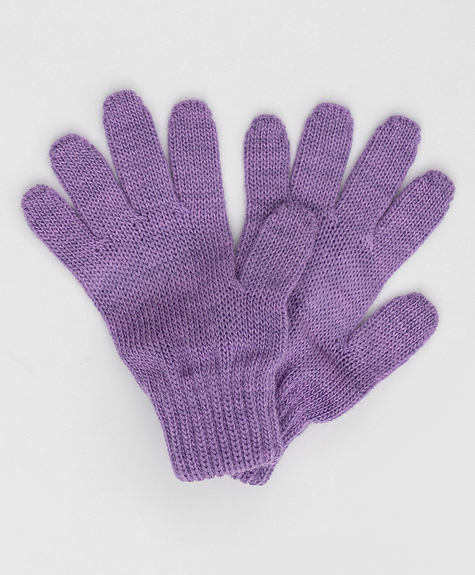 Сиреневые вязаные перчатки Button Blue 220BBGMX76014900, размер 14